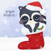 Christmas greeting card with cute little raccoon vector