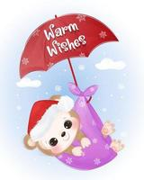 Christmas greeting card with cute baby monkey