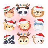Cute animals head for Christmas decoration vector