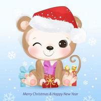 Christmas greeting card with cute little monkey vector