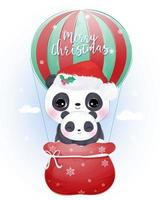 Christmas greeting card with cute mommy and baby panda
