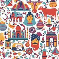 Indian architecture and Asian traditions set vector