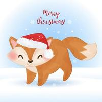 Christmas greeting card with watercolor fox vector