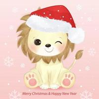 Christmas greeting card with adorable little lion vector