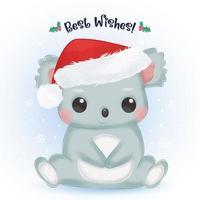 Christmas greeting card with cute baby koala