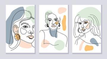 conjunto de rostros femeninos vector