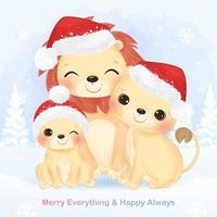 Christmas greeting card with cute lion family