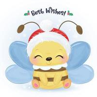 Christmas greeting card with cute little bee vector