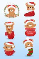 Cute bears in watercolor for Christmas decoration vector