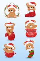 lindos osos en acuarela para decoración navideña vector