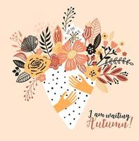 tarjeta de otoño con un ramo de flores. vector