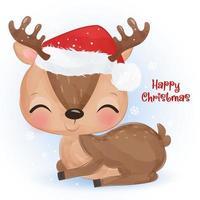 Christmas greeting card with cute baby reindeer