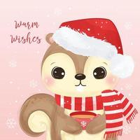 Christmas greeting card with adorable squirrel vector