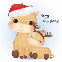 Christmas greeting card with cute mommy and baby giraffe