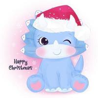 Christmas greeting card with cute baby dinosaur