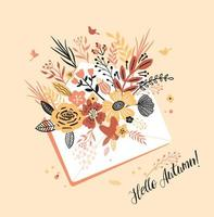 Autumn card with a bouqet of flowers vector