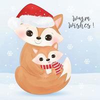 Christmas greeting card with adorable fox vector