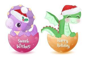 Christmas greeting card with cute dinosaur vector