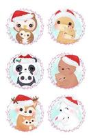 Cute mommy and baby animals for Christmas decoration