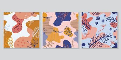 Floral abstract drawing pattern set design. vector