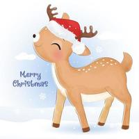 Christmas greeting card with adorable little reindeer vector