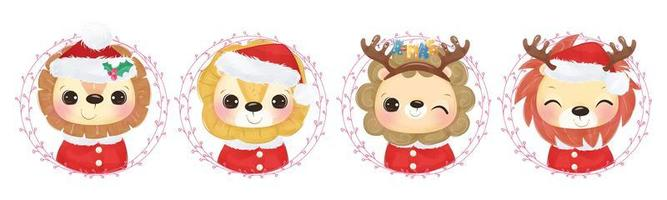 Cute lion collection for Christmas decoration vector