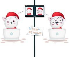 lindo gatito videollamada en la computadora portátil para el día de navidad