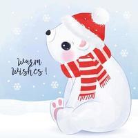 Christmas greeting card with cute polar bear vector