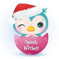 Christmas greeting card with cute little blue owl vector
