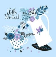 New year card with a kettle, cup and flowers