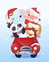 Christmas greeting card animals riding in a car vector