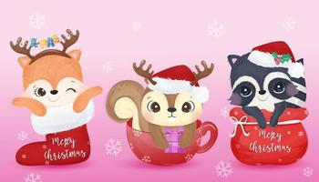 Cute animals for Christmas decoration vector