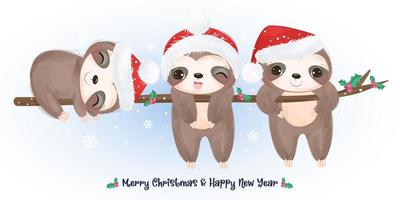 Christmas greeting card with cute sloths vector