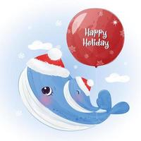 Christmas greeting card with cute mommy and baby whale