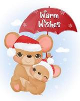 Christmas greeting card with cute mommy and baby mice