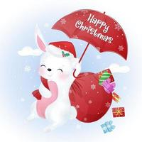 Christmas greeting card with cute bunny vector