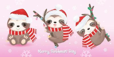 Cute sloths collection for Christmas greeting decoration vector