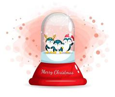 Cute penguins in glass cloche for Christmas day