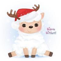 Christmas greeting card with cute baby lamb vector