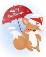 Christmas greeting card with cute baby fox