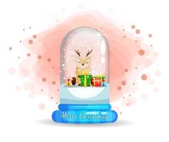 Cute reindeer in glass cloche for Christmas day vector