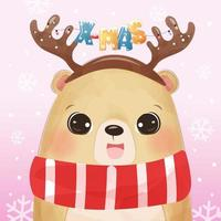 Christmas greeting card with cute bear vector