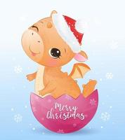 Christmas greeting card with cute baby dragon