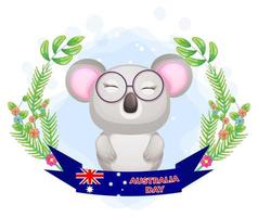 Cute koala with floral wreath and Australia Day banner vector