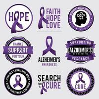 insignias de concientización sobre la enfermedad de alzheimer