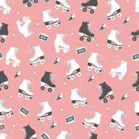 Seamless pattern with roller skates and cassette tapes