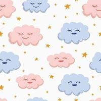 Nursery pattern illustration. Seamless hand drawn baby clouds.