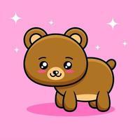 lindo en cuatro patas oso de dibujos animados vector