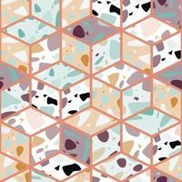 Terrazzo seamless pattern design with hand drawn rocks vector
