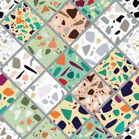 Terrazzo seamless pattern design with hand drawn rocks. vector